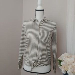 Madewell Striped Tie-Front Long Sleeve Shirt